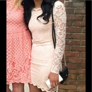 Dresses - Light Pink Lace Dress